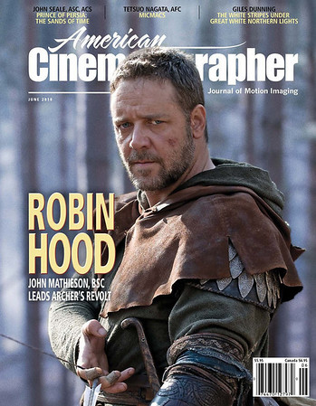Russell Crowe American Cinematographer June 2010 Robin Hood cover