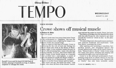 Chicago House of Blues 2001 Chicago Tribune